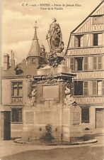 Original Vintage 1910s-30s French Joan of Arc PC- Rouen France- Statue- Fountain