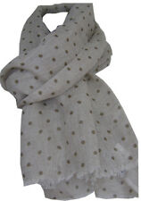 "TRANSAT BOUTIQUE CHECHE ECHARPE FOULARD LIN ""HAPPY FEW"" BEIGE POIS CHOCO-PROMO!"