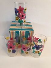 Vintage Set Of 4 Acrylic Tropical Flowers Summer Glasses High Ball