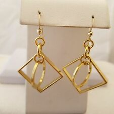 Gold Filled Square And Circle Hook Earrings