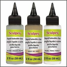 Sculpey Bakeable Liquid Clay - 3 x 59ml Bottles - Gold, Silver and Pearl