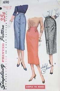 Vtg 1950s Simplicity 1690 Button Pleat Front Slim Skirt SEWING PATTERN 27 waist