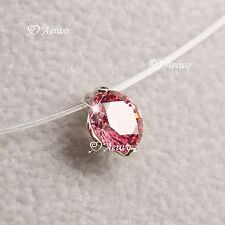 18k white gold gp made with SWAROVSKI ZIRCONIA red necklace Solitaire Pendant