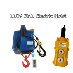 New 110V 3 IN1 Household Electric Winch with Wireless Remote Control  450KGX7.6M