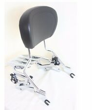 4 Point Docking Chrome Stealth Luggage Rack Sissy Bar Backrest Harley 2014-later