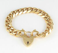 Vintage Heavy Solid 9Ct Gold Curb Link Chain Bracelet With Heart Padlock ,53.1g