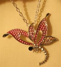 Dainty Openwork Pink Enamel Rhinestone Dragonfly Silvertone Pendant Necklace