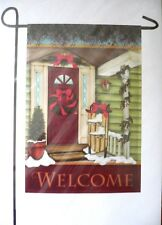 """Welcome"" Christmas Decorative Garden Flag 12"" x 18"" Bnip"