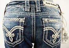 "$180 Rock Revival Womens Jean ""Irene"" Leather Swarovski Easy Boot 26 X 30"