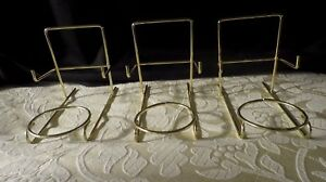 3 TOP QUALITY CUP SAUCER & PLATE DISPLAY STANDS BRASSED