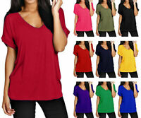 Women Baggy Oversized Loose Fit Turn up Batwing T shirt Ladies V Neck Top Plus