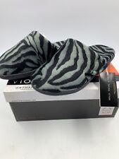 Vionic 11 Slipper Gemma Mule Slide Orthaheel Dark Gray Zebra Comfort Cozy NEW