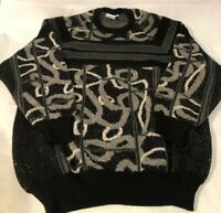 Vtg Radius Sweater Wool Made In Italy Black Grey White Cosby Hip Hop Biggie EUC