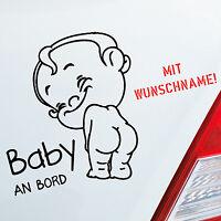 Auto Aufkleber Baby an Bord on Tour Name LUSTIG Wunschname Kids Sticker 224