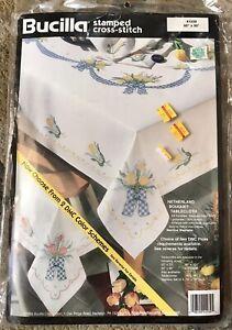 "Bucilla Stamped Cross Stitch Tablecloth Kit 41039 60"" X 90""  Netherland Bouquet"