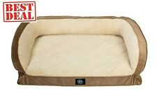 New listing Large Dog Bed Serta Pedic Petite Gel Memory Foam Orthopedic Quilted Couch Brown