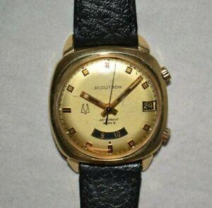 Vintage BULOVA Accutron 2185 Mens Watch ASTRONAUT MARK II- Solid 14K Case! PARTS