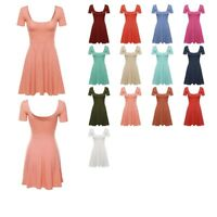 FashionOutfit Women's Solid Stretch Short Sleeve Scoop Neck Flare Mini Dress