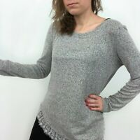 LC Lauren Conrad Silver Knit Lace Bow Back Long Sleeve Sweater Top Women's Small