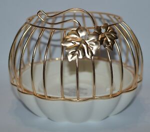 BATH BODY WORKS GOLD PUMPKIN CERAMIC LARGE 3 WICK CANDLE HOLDER LUMINARY 14.5OZ