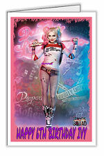 Harley Quinn Suicide Squad Birthday Card Personalised - Any Name & Age