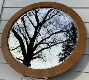 "Vintage Ethan 40"" Allen Round Art Deco Style Wood Wall Mirror 12-5420 Finish 222"