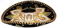Youth Mexican Mariachi Hat Sombrero Charro Cinco de Mayo Folk Art Black Gold