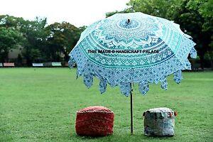 Garden Indien Parasol Umbrella Outdoor Patios Ombre Mandala Priint Rajasthani