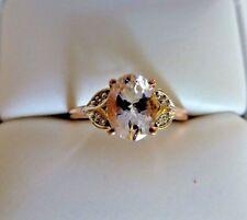 Sparkling 1.12 ct Natural Oval Cut Morganite&Diamond 10K Rose Gold ring size 9