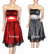 Knee Length Satin Strapless Dresses for Women