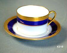 TASSE à CAFE PORCELAINE BERNARDAUD LIMOGES BLEUE de FOUR INCRUSTATION OR