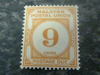 MALAYAN POSTAL UNION POSTAGE DUE STAMP SGD11 9 CENTS YELLOW ORANGE UMM