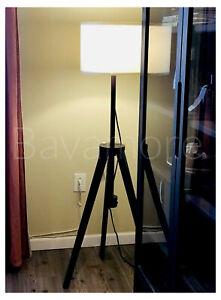 IKEA LAUTERS Floor lamp, brown ash, white (adjustable)
