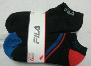 Fila 6 Pair Pack No Show Cut Men's Socks Shoe Size 8-12