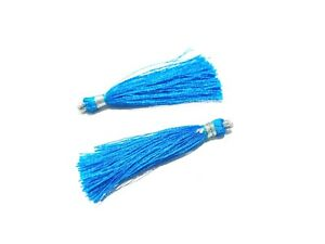 "25 Pair Sky Blue Colour Silk Thread Tassel Jewellery Making 2""inch Tassel"
