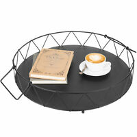 MyGift Geometric Metal Wire Round Serving Tray with Handles