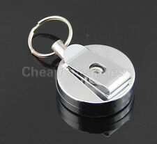 Stainless Steel Badge Reel Retractable Key Ring Pull ID Card Holder Infinity  FO