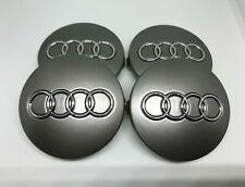 4 X CENTER WHEEL HUB CAPS FOR AUDI (60MM) Grey Emblem