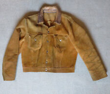 VINTAGE LEVI'S WESTERN WEAR SHORT Horn Giacca in Pelle Scamosciata Pelle di daino.. V. RARE