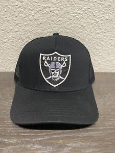 🏈 RAIDERS Las Vegas Oakland LA Black Trucker Mesh Logo Cap Hat NEW  🏈