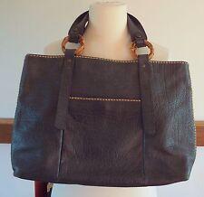 Plino Visiona navy blue leather reversible tote bag