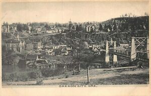 Oregon City, OR-Aerial Postcard View of Town From Other Side of Bridge