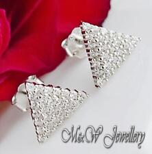 Solid 925 Silver Rhodium Plated TRIANGLE Stud Earrings Clear Cubic Zirconia