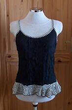 PER UNA M&S black cream beige stripe crinkle stretch chiffon camisole top 12 40