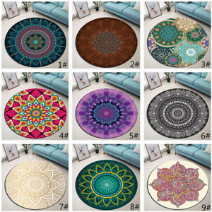 9 Types India Mandala Non-slip Door Round Rugs Room Floor Yoga Carpet Bath Mat