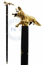 FOX Skull Head Cane Victorian Solid Brass Walking Stick Wooden Rose Wood Cane