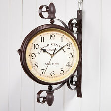 New Retro Antique Wall Clock Hallway Garden Outdoor Station Double Sided Wall dd