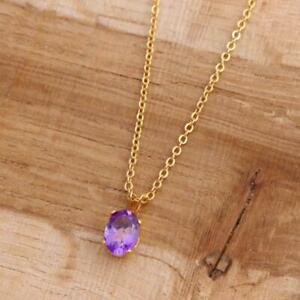 Natural Amethyst Oval 14k Gold Filled Pendant Necklace 18 Inch Chain