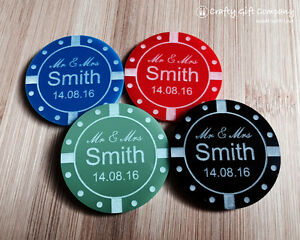 Personalised Acrylic Poker Chip casino style Wedding Table Decoration Favours