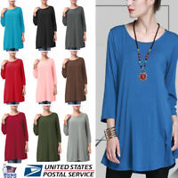 Women Round Neck Long Sleeve A-Line Swing Loose Tunic Top Blouse T-Shirt Dress